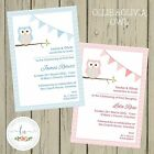 OLLIE & OLIVIA OWL Personalised Invitations Christening Baptism Blue Pink