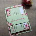 GREEN FLORAL BLOOM Rustic Wedding Invitations & RSVP/ Invitation Bundle// SAMPLE