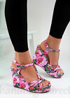New High Wedge Heel Platform Sandals T Bar Ankle Strap Floral Print Womens Shoes