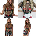 Sexy Net Yarn Tops Flower Embroidery Design Girl Womens T-shirt Round Neck