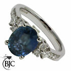 BJC® 18ct White gold Sapphire & Diamond Solitaire size L engagement ring R48