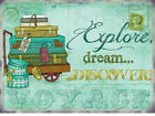 EXPLORE DREAM DISCOVER TRAVEL ADVENTURE SUITCASE POSTCARD METAL SIGN PLAQUE 586