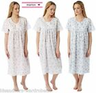 Ladies Womens Marlon Poly Cotton Short Sleeve Button Through Nightie Nightdress