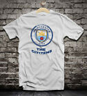 Manchester City distressed soccer t shirt camiseta team badge.
