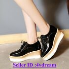 Womens Platform Wedge Creeper Square Toe Lace Up Oxfords Mid Heel Shoes $36.66