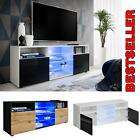 Cabinet Media Center TV Console Stand Entertainment Furniture Modern Shelf LED
