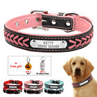 Braided Leather Personalized Dog Collar Soft Padded Pet Cat Name ID Tag Engraved