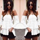 Tops Blouses - OffShoulder Loose Casual Blouse Long Sleeve Shirt Fashion Women Tops TShirt