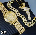 MEN ICED OUT HIP HOP GOLD PT WATCH & 37 RIP MARY NECKLACE & BRACELET COMBO SET