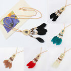 Lady Feather Necklace Pendant Decoration Accessories Long Chain Sweater Jewelry