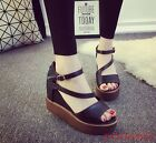 Womens Wedge Platform Sandals Shoes Peep Toe Ankle Strap Hollow Casual Fashion