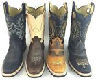 Men's Rodeo Cowboy Work Boots Genuine Leather Western Square Toe Botas