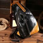 New Men Retro Oil Wax Genuine Real Cow Leather Shoulder Bag Chest Bag Coffee