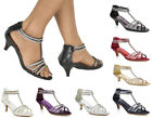 LADIES DIAMANTE DETAIL STRAPPY LOW MID HEEL PEEP TOE SANDALS SHOES SIZES 3-8