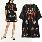 Vintage Oaxacan Mexican Bright Floral Embroidered Boho Hippie Mini Dress Black