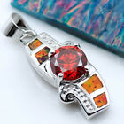Fire Opal &  Quartz Women Fashion Jewelry Gems Silver Pendant P407