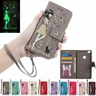 Magnetic Flip Leather Stand Cards Luminous Wallet Case Cover For Huawei Models