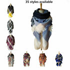 Za Fashion Brand Winter Scarf  Women Large Plaid Cashmere Tartan Blanket Scarf