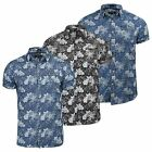 Mens Firetrap Lightweight Short Sleeve Denim Floral Shirt - Slim Fit