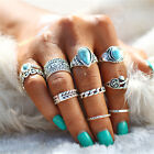 10pcs Boho Turquoise Finger above Knuckle Ring Band Midi Rings Stacking Ring Set