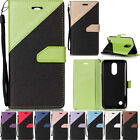 Stitching Colors PU Leather Wallet Case & Strap Stand Cover For Samsung Huawei