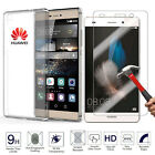 Ultra Thin Clear Gel Case Cover+Tempered Glass Screen Protector for Huawei Phone