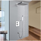 Thermostatic Dual Handles Shower Faucet Rainfall Brass Head Tub Filler Hand Unit