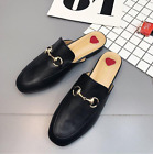 Women Fashion Round Toe Metallic Buckles Backless Flats Loafers Mules Slippers
