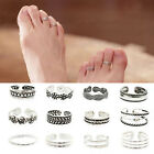 HA 1/12PCS Vintage Celebrity Silver Plated Adjustable Open Toe Ring Finger Foot