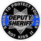 Deputy Sheriff Sworn To Protect Your A$$ Blue Line 7 Point Star Decal Sticker