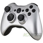 For Xbox 360 Controller Glossy Silver Controller Shell Case with Black Buttons