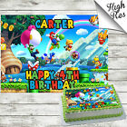 SUPER MARIO BROTHERS RECTANGLE BIRTHDAY CAKE TOPPER DECORATION PERSONALISED