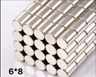 25/50/100/250 MAGNETS 6mm X 8mm cylinder disk STRONGEST N52 rare Earth Neodymium