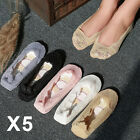 5Pair Womens Ladies Skin Shoe Liners Footsies Invisible Thin Lace Socks Sheer