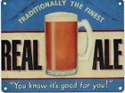 REAL ALE - LAGER STOUT BREWERY BREWER PUB BAR MAN CAVE TIN SIGN METAL PLAQUE 193