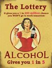 THE LOTTERY - ALCOHOL - WON'T GO TO WORK - PROSECCO WINE METAL PLAQUE SIGN 1122