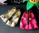 New Girls Dancing Shoes  PVC Soft Magic Fastening Bow Trimkle Sandals