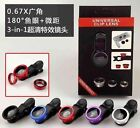 Wide Angle+Fish Eye+Macro 3in1 Universal Camera Photo Lens Kit For Smart Phone
