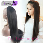 Top Quality Remy Human Hair Straight One Piece Clip in Hair Wig Half Head 3/4 Wi