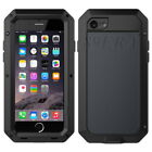 Military Shockproof Heavy Duty Metal Case Cover Gorilla Glass For iPhone Samsung
