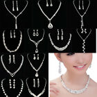 Crystal Necklace Earrings Set For Women Bridal Bridesmaid We