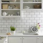 GLOSS WHITE METRO BEVELLED BRICK KITCHEN...