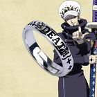 Hot Anime One Piece Trafalgar Law Ring 925 Sliver Cos Gift Adjustable Ring