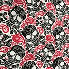 "Paisley Skulls Red with Black Skulls Poly Cotton fabric material 115cm 45"" RO"