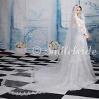 """118"""" Long, 71"""" Wide Lace Wedding Veil Cathedral Crystal Bridal Accessories Veils"""