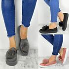 Womens Pom Pom Trainers Ladies Slip On Flats Sneakers Plimsoll Pumps Shoes Size