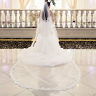 3 Meter White / Ivory Cathedral Wedding Veils Lace Edge Bridal Accessories Veils