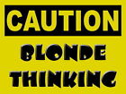 CAUTION BLONDE THINKING - METAL PLAQUE TIN SIGN SHABBY CHIC OTHERS LISTED 1079