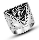 【From US】The All-seeing-eye illunati pyramid/eye Illuminati Stainless Steel Ring