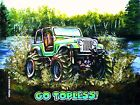 Mud Truck T-shirt 4x4 offroad Jeep GO TOPLESS lifted bogger mudder WHITE CJ7
